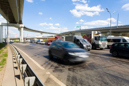 promptness: Moscow, Russia, May 24, 2017: The car quickly rides the Moscow Ring Road (MKAD). Editorial