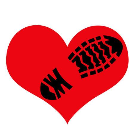 Impronta della suola ruvida della scarpa sul simbolo dell'amore. Illustrazione. Archivio Fotografico - 80824133