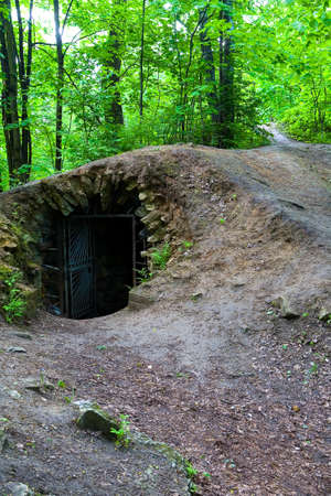 Entrance to the old abandoned dungeon. Ancient homestead Gorenki in the Moscow region.
