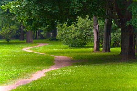 Horizontaal landschap. Een schilderachtig pad in het park van de middelste zone van Rusland. Stockfoto