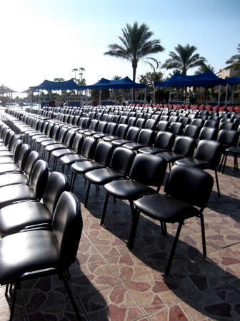 Hurghada, Egypt, August 9, 2014: The chairs for spectators are in straight rows.
