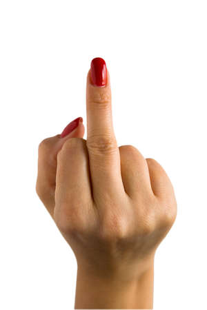 A female hand with red nails shows the middle finger. Obscene gesture.