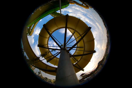 avocation: The attraction in the water park from below looks like a shell. Entertainment. Stock Photo