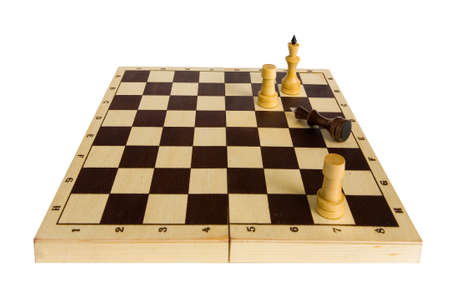gave: Chess. The Black King gave in and lies on the chessboard.