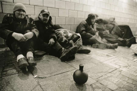 Moscow, Russia, November 16, 2017: Homeless people in the underpass. Attention! The image contains granularity and other artifacts of analog photography!