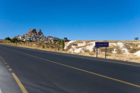 The road leading from the town of Goreme towards the town of Uchisar. Turkey. Stock Photo