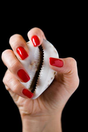 A beautiful well-groomed female hand holds an erotic shell. Close-up. Stok Fotoğraf
