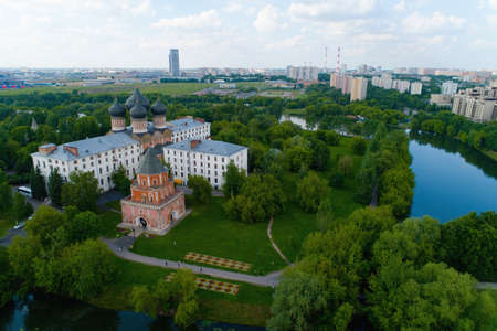 Bridge tower on the Izmailovsky Island in Moscow. Aerial photography. Stock Photo