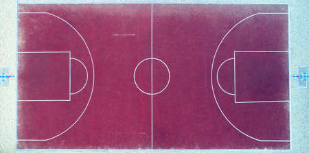 Top view of a basketball court without people. Aerial photography.