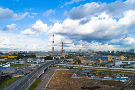 A new flyover on the territory of the former Likhachev Plant. Aerial photography. Stock Photo