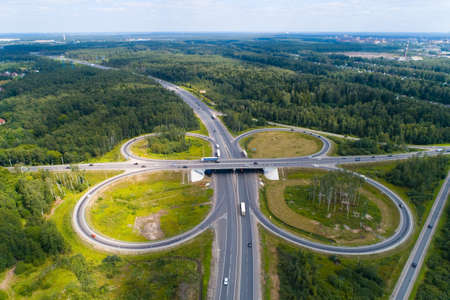 Road junction in the Moscow region near the city of Elektrostal. Aerial photography.