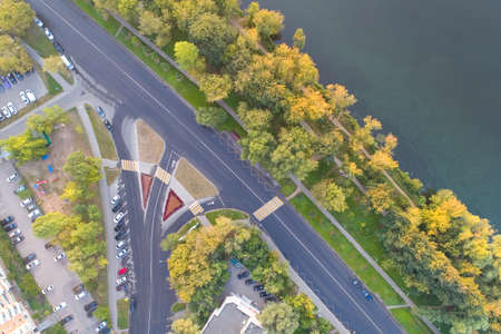 A view from above on the road cleared by the municipal services. Aerial photography. Stock Photo