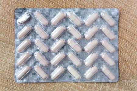 Medicinal preparations in capsules in packaging. Medicine. Stok Fotoğraf