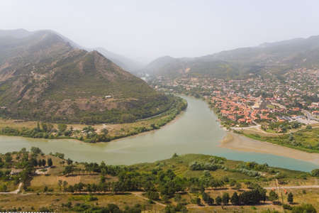 Top view of the city of Mtskheta. Georgia.