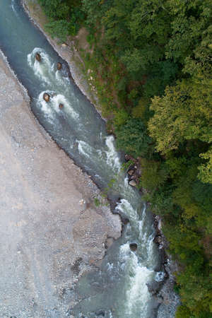Top view of the beautiful mountain river. Aerial photography.