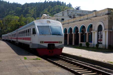 The train is at the station Borjomi. Georgia.