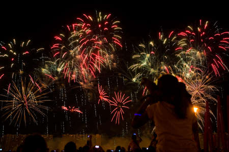 Viewers watch beautiful fireworks in the sky. Moscow.