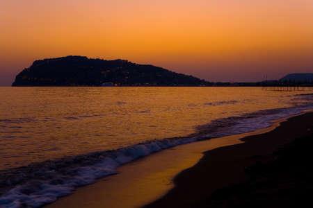 Beautiful sky at sunset on the sea. Turkish Alanya.