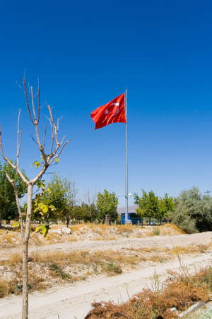 A small tree and a large Turkish flag in the background. Goreme. 写真素材