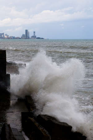 Storm on the coast of the Black Sea in Georgia. In the background is the city of Batumi. 写真素材