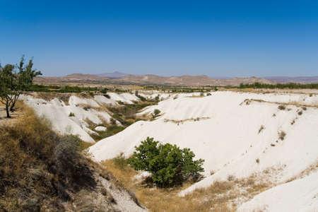 Unusual beautiful mountain landscape of Turkish Cappadocia. Travel.