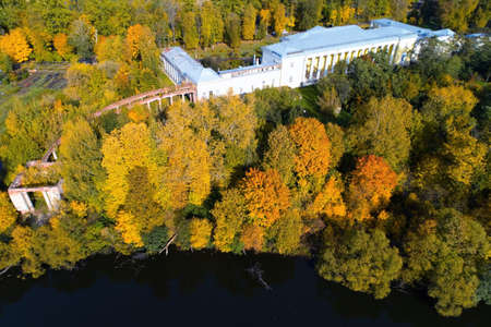Top view of the old manor Gorenki autumn. Aerial photography. 写真素材