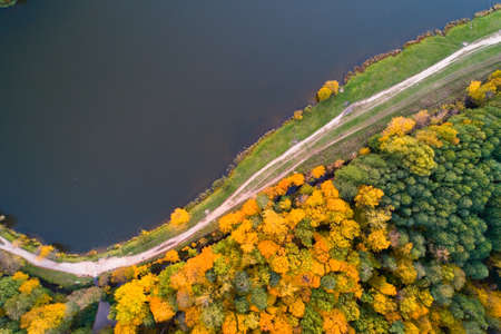 Lebedyansky pond in Izmailovo Park in the fall. Aerial photography.