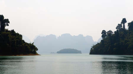 Beautiful mountain landscape of the picturesque lake Cha Long. Thailand.