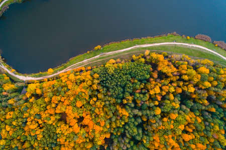 Autumn nature of central Russia from a height. Aerial photography over Lebedyansky pond.