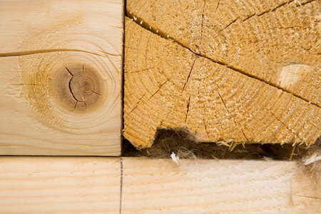 The timber is folded into a warm corner. Close-up.