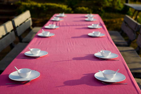 On a long table are plates with cups and cutlery. Tableware.