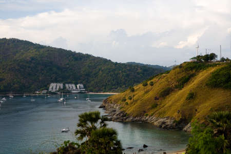 Yachts with lowered sails are in the bay. Thailand. Reklamní fotografie