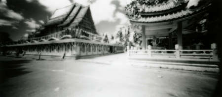 The delightful Buddhist Thai temple of Wat Phra Nang Sang. Attention! Image contains grit and other artifacts of analog photography!