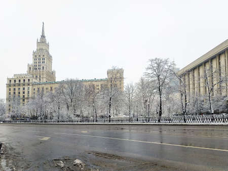 Beautiful architecture of Moscow Soviet-built in winter. Stalin's skyscraper. 免版税图像