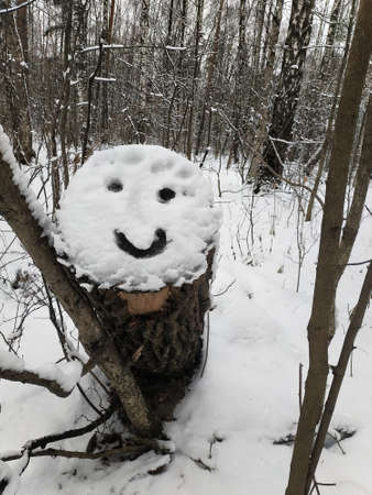 A smiling emoticon is painted on the snow in the forest. Outdoors in the park.
