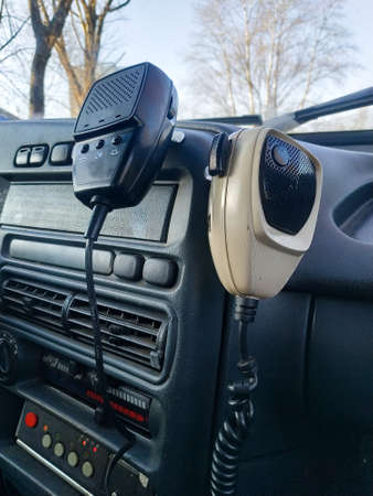 The tangents of a radio station and signal-talking device installed in a police car. Russia.