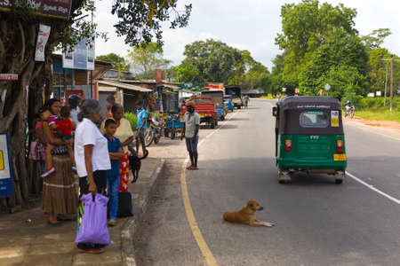 Polonnaruwa, Sri Lanka, December 20, 2015: People are standing at a public transport stop and a dog is lying on the road.