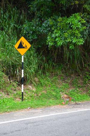 Near the warning sign