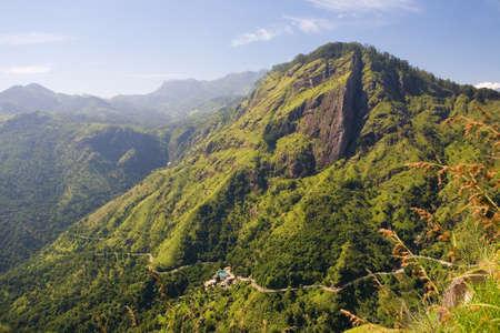 Top view of a winding mountain road. Sri Lanka.