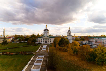 Top view of the Church of the Archangel Michael in Kolomna. Aerial photography. Reklamní fotografie