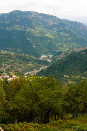 Top view of the gorge and mountains covered with forest. Landscape of Georgia.