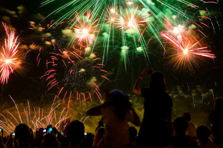 Beautiful colorful fireworks in the evening sky. The audience is watching. Reklamní fotografie