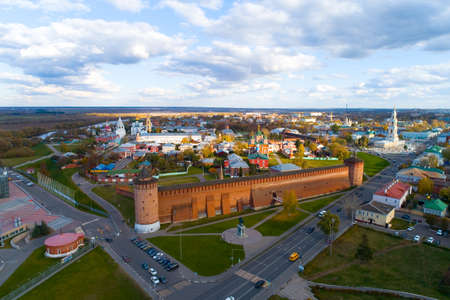 Top view of the ancient Kremlin in Kolomna. Aerial photography.