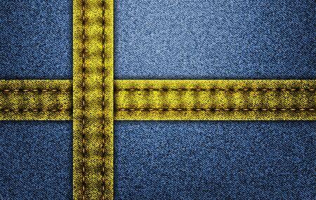 Denim flag of Sweden