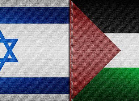 Denim flags of Israel and Palestine 版權商用圖片