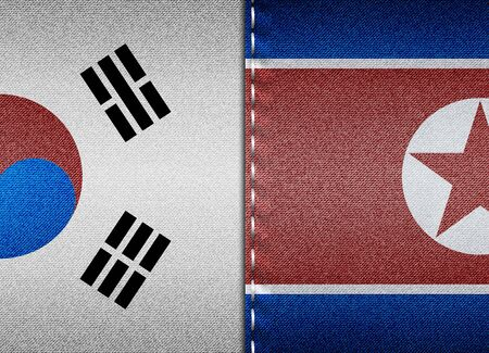 Denim flags of South and North Korea