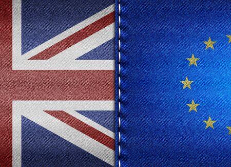 Denim flags of United Kingdom and European Union