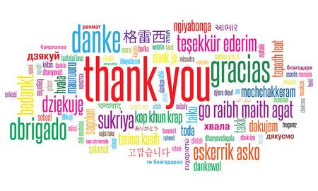 Gracias, ilustración, nube de palabras en diferentes idiomas