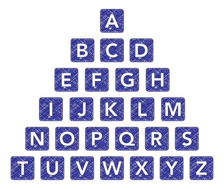 Alphabet scribble cubes Ilustrace