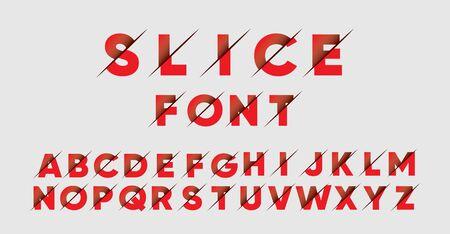 Sliced font or typeface. Alpha in sliced effect